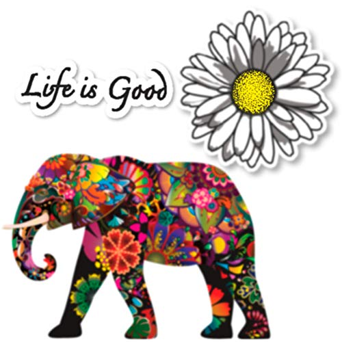 Empt Idio - Super Colorful Flower Lovely Elephant Removable Vinyl Stickers Skin for Laptop, Skateboard, Window, Car, Guitar, Luggage, Motorcycle, Helmet (3 PCS, Elephant, Daisy, and Life is Good)