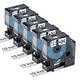 Labelife Compatible Tape Replacement for Dymo D1 Label Tape 45013 S0720530 Refill, Black on White,1/2 Inch x 23 Ft Cartridges for Dymo LabelManager 160 280 PnP 360D 420P 450 Duo Label Maker, 5 Pack