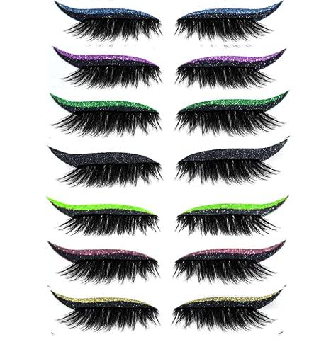 False Eyelashes,Reusable Eyeliner and Eyelash Stickers 7 Color Waterproof Reusable Eyeliner Eyelash Stickers Easy to Use and Remove,Women Make Up Eyeliner stickers