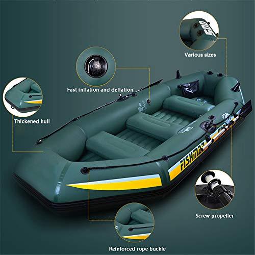 XFSD Verdicktes PVC-Kajak für den Außenbereich, 3/4-Personen-Schlauchboot mit Fischerboot, Gummiboot Hovercraft, mit Aluminium-Doppelrudern, motorisch montierbar, Schwimmweste + Aufbewahrungsrucksack - 8