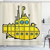 Alvaradod Gelber U-Boot-Duschvorhang,Retro Marine Vessel Industrial Nautical Ocean Theme,Stoff Stoff Badezimmer Dekor Set mit,Blaugrau mit 12 Kunststoffhaken 180x180cm