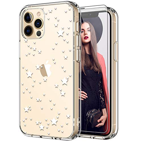 ICEDIO for iPhone 12 Case,iPhone 12 Pro Case with Screen Protector,Clear with Beautiful Floral Patterns for Girls Women,Slim Fit Cover Protective Phone Case for iPhone 12 Pro/12 6.1' Nice Stars