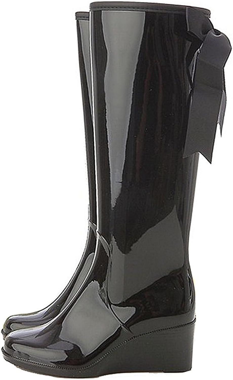 Getmorebeauty Women's Belt Mid Calf Rubber Waterproof Wedges Black Rain Boots