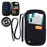 RFID-blockierender Reisepasshülle für Reisepass, Dokumenten-Organizer, Tasche mit Handgelenk und...