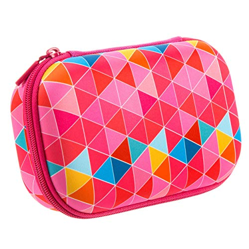 ZIPIT Colorz Large Pencil Box for Girls, Holds Up to 60 Pens, Sturdy Storage Container for School and Office Supplies, Secure Zipper Closure (Pink Triangles)