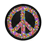 ALAZA Peace Sign Flower Black Round Area Rug for Living Room Bedroom 3' Diameter(92 cm)
