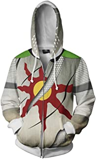 Xiao Maom Men`s Artorias Cosplay Solaire Hoodie Jacket Costume 3D Print Warrior Knight Adult Zipper Coat
