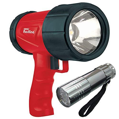 Draper 1 W lampe torche LED rechargeable spot 80928 + Chargeur AC + Chargeur de voiture prise 12 V + 9 LED Lampe torche en aluminium