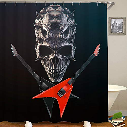 HUAYEXI Duschvorhang 180x180cm,Heavy Metal Demon Skull, schwarz & rot gekreuzte Gitarren,Duschvorhang Wasserabweisend-Duschvorhangringen 12 Shower Curtain mit