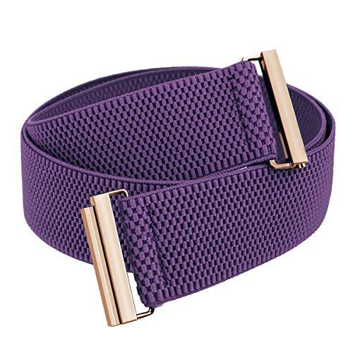 Samtree Stretch Elastic Belt for Women, Adjustable No Show Flat Buckle Lightweight Cinch Waistband for Dresses, Purple