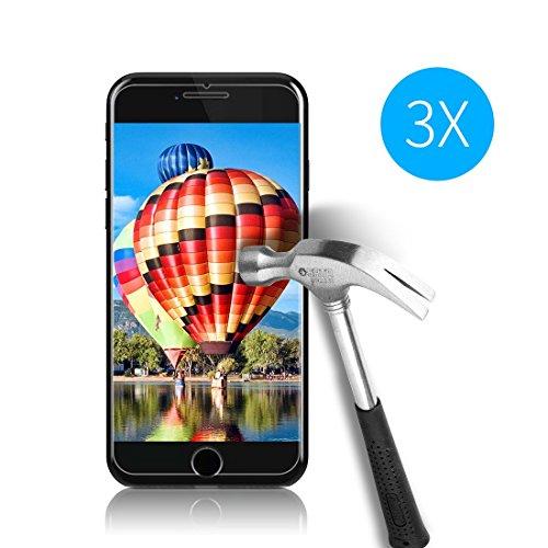 Cardana 3x Bruchsicheres Schutzglas für iPhone 6/7/8 Schutzfolie aus 9H Echt Glas Schutzglas Panzerglas