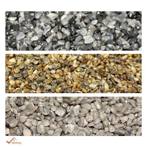 BEKATEQ Steinteppich Set 2qm aussen innen, BK-601EP Marmorkies abgerundet - 20kg Lichtgrau + 1,2kg Epoxidharz