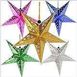 NX Garten-Lampenschirm, 3D, Pentagramm, 6 Stück, bunt, hohl, Papierstern, Hängelaterne für Party, Urlaub, Geburtstag, Dekoration
