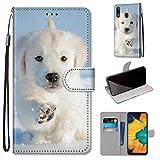 Miagon Flip PU Leder Schutzhülle für Samsung Galaxy A20e,Bunt Muster Hülle Brieftasche Hülle Cover Ständer mit Kartenfächer Trageschlaufe,Schnee H&