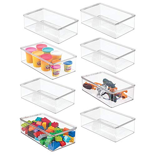 mDesign Stackable Plastic Storage Toy Box Bin with Lid - Container for Organizing Child/Kids Action Figures, Crayons, Markers, Building Blocks, Balls, Puzzles, Crafts - 3' High - 8 Pack - Clear