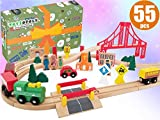 Wooden Train Tracks Full Set, Deluxe 55 Pcs with 3 Destination Fits Thomas, Brio, IKEA, Chuggington,...
