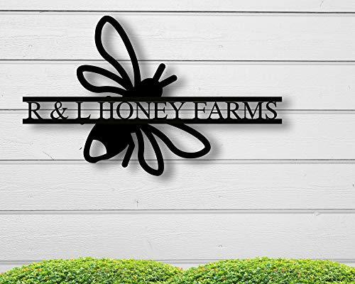 Free Brand Honey Bee - Placa de metal personalizada, letrero de abeja de metal, letrero de apicultor, regalo para apicultor, letrero de colmena al aire libre para decoración de casa nueva