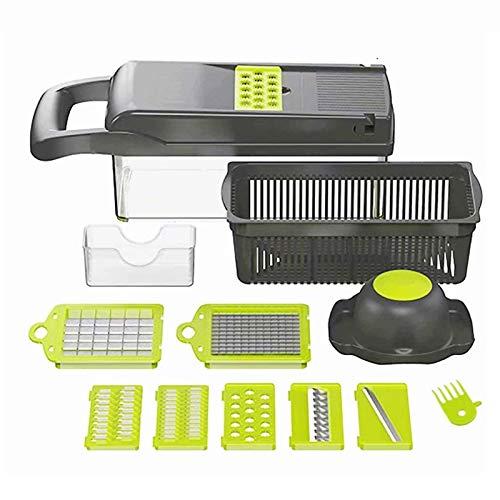 Picador de verduras – Cortador de verduras en espiralizador – Picador de cebolla con contenedor – Pro Food Chopper – Cortador de dicer – 7 cuchillas
