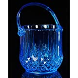 JUNJIJINGXIANG Cubo de Hielo de Acero Inoxidable Cubo De Hielo,Cubo De Hielo con Aislamiento Doble Acrílico,Cubo De Hielo De La Barra De Champán Portátil con Manijas -1.2l, Azul.
