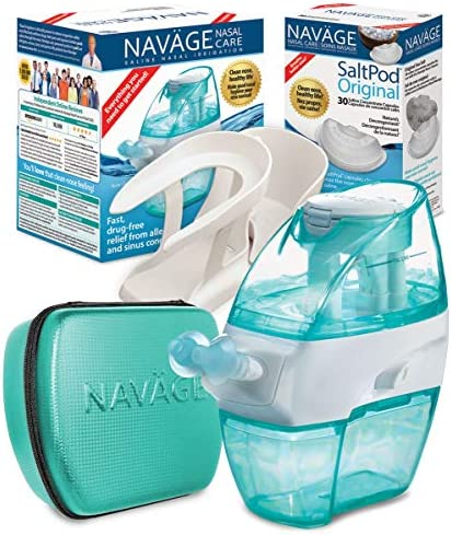 Navage Nasal Care Deluxe Bundle: Navage Nose Cleaner w 20 SaltPods Inside, 1 SaltPod 30-Pack, Countertop Caddy, and Travel Case. 164.85 if Purchased Separately. Save 49.90. for Improved Nasal Hygiene