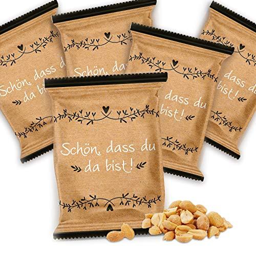 Logbuch-Verlag Give-Away 25 Erdnusstütchen 20 g Erdnüsse Tisch-Deko SCHÖN DASS DU DA BIST braun Gold schwarz weiß Gastgeschenk Kraftpapier Hochzeit Geburtstag Vintage