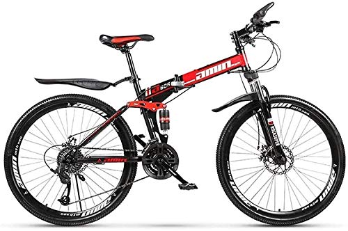 min min Bicicletas Plegables MTB, 26 Pulgadas, 27 Velocidades, Freno De Disco Doble, Suspensión Total Antideslizante, Cuadro Ligero, Horquilla De Suspensión Bicicletas De Carreras para Hombres