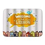 KASMILN Alfombra De Baño,Cocina,Mascota,Antideslizante,Bienvenido a Dibujos Animados Coloridos Casas Antiguas de Ciudad de Lisboa,Multifuncional,Súper Absorbente
