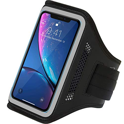 LOVPHONE iPhone 11 Pro Max/iPhone 11 Pro/iPhone 11/iPhone Xs Max/iPhone XR Armband, Water Resistant Sport Running Cell Phone Case with Key Holder and Card Slot for Walking,Hiking,Biking (Gray)
