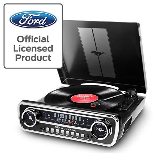 Ion Audio Mustang LP Platenspeler, met Luidspreker, Retro Ford Mustang Design Retro, Radio, USB, AUX-Ingang, Zwart/Zilver