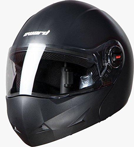 Steelbird Flip Up Full Face Unisex Helmet (Mat Volcanic Black, Large 600Mm)