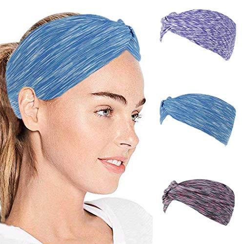 IYOU Fashion Hoofdbanden Yoga Stretchy Sweatband Blauw Sport Elastische Haarbanden Geknoopt Brede Hoofd Wraps voor Vrouwen en Meisjes (pak van 3)