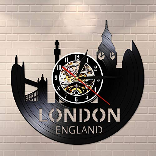 BFMBCHDJ London England Stadtbild Silent Quartz Vinyl Schallplattenuhr Großbritannien Tower of London City Skyline Wohnkultur Retro Uhr Mit LED 12 Zoll