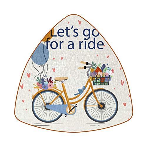 Vintage Let's Go For A Ride Bicycle Floral Juego de 6 Posavasos para Bebidas para el hogar, Taza, Botella, Taza, café, Cerveza