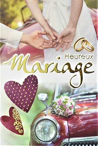 Glückwunschkarte Hochzeit mit Vergoldung Gold Eheringe Braut Auto Rot Bordeaux Herzen Blumenstrauß hergestellt in Frankreich