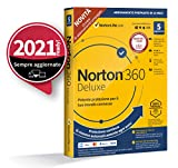 norton 360 deluxe 2021, antivirus per 5 dispositivi, licenza di 15 mesi con rinnovo automatico, secure vpn e password manager, pc, mac, tablet e smartphone