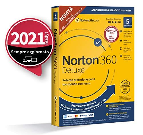 Scopri offerta per Norton 360 Deluxe 2021, Antivirus per 5 Dispositivi, Licenza di 15 mesi con rinnovo automatico, Secure VPN e Password Manager, PC, Mac, tablet e smartphone