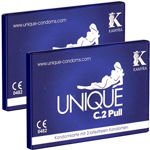 KAMYRA Unique C.2 PULL Condom Card, blau - latexfreie Kondome, mit Abziehbändchen für schnelles Abrollen - auch mit ölhaltigen Gleitmitteln verwendbar - DOPPELPACK - 2 x 3 Stück