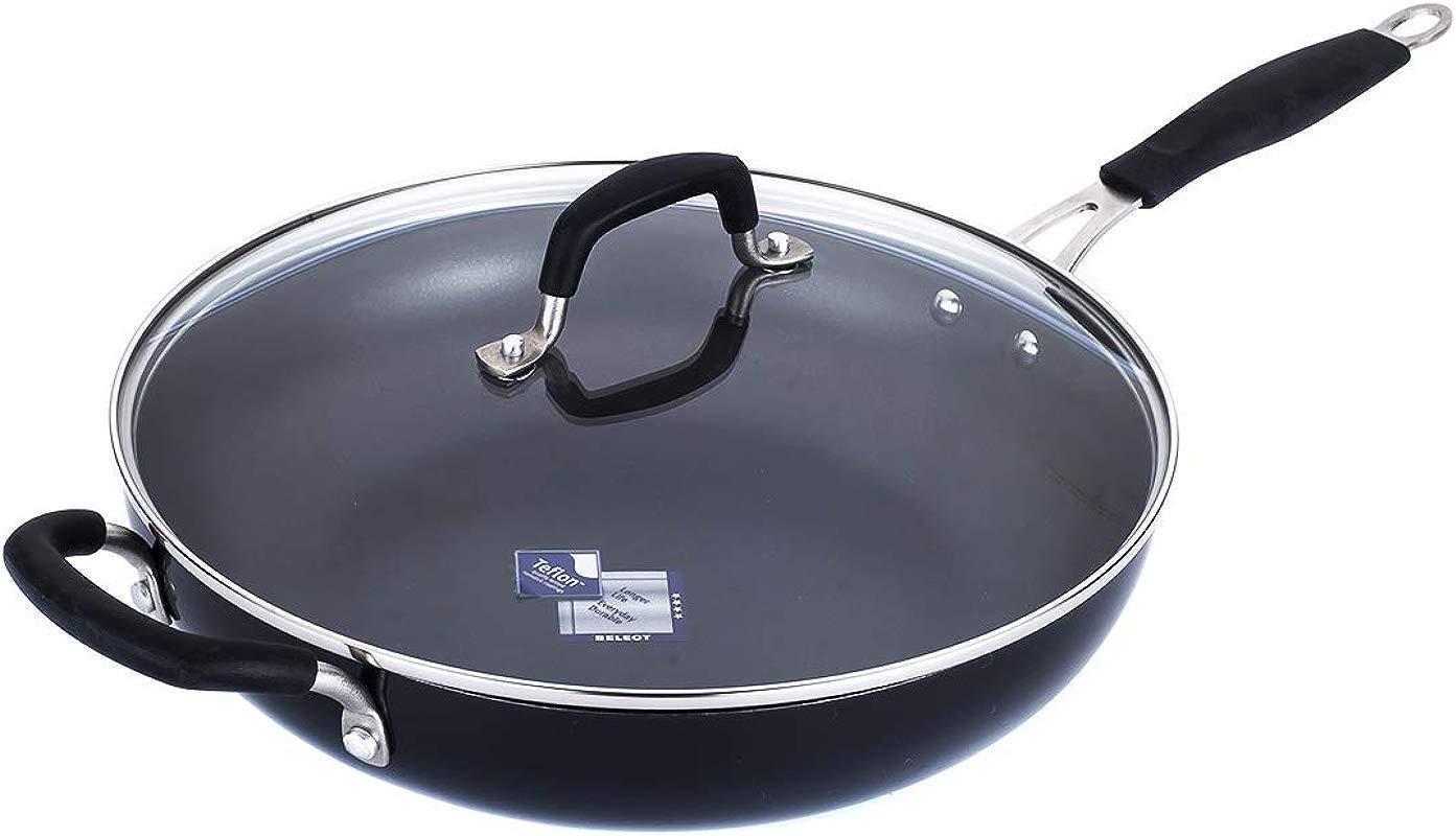 Momscook Saute Pan 6 Quart Classic Brights Hard Enamel Aluminum Nonstick Covered Skillet Dishwasher Safe Sautepan Black