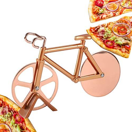 CNXUS Fahrrad Pizzaschneider, Edelstahl Doppel Pizza Schneider, Schneidräder aus Edelstahl, Cutter für Pizza und Teig für Küchengeräte, Pizza Cutter aus Antihaftbeschichtetem für Party Usw(Roségold)