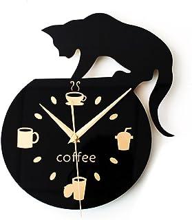 Winomo Horloge murale style dessin animé avec visuel de chat qui grimpe, tasse à café et inscription «Coffee»