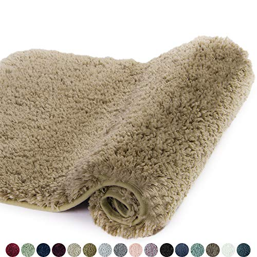 Walensee Large Bathroom Rug (24 x 40, Sand) Extra Soft and Absorbent Shaggy Bathroom Mat Machine Washable Microfiber Bath Mat for Bathroom, Non Slip Bath Mat, Luxury Bathroom Floor Mats Rubber Back