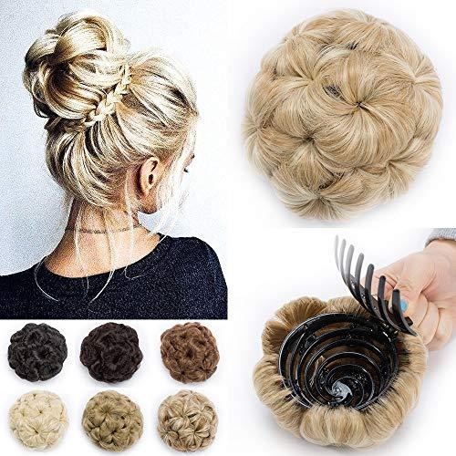 TESS Haargummi Haarteil Dutt mit Haaren Gewellt Haarknoten Hochsteckfrisuren günstig für Damen Ombre Hellbraun/Blond