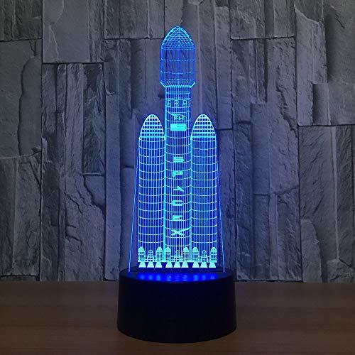 Luz nocturna 3D Transbordador espacial Luz X de 7 colores Luz nocturna LED visible en 3D, adecuada para que los niños toquen la mesa USB, luz nocturna para dormir, luz linda