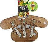 Quttin 3 - Tabla de desayuno de bambú, 27 x 15 x 0,8 cm, con surco y 3 cuchillas de corte ondulado universales en juego - libro electrónico de cocina Vegan & Gut con 275 recetas