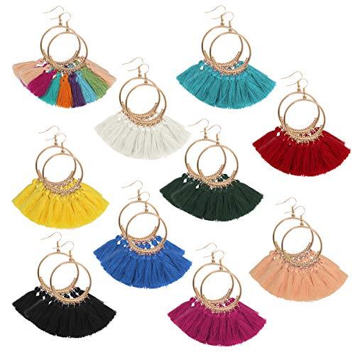 Funhoo 10 pares Pendientes de aro de borla de estilo Bohemio con Colgantes para Mujeres Chicas Accesorios de Vestido Bohemio de Fiesta