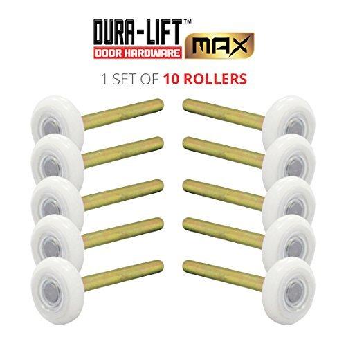 DURA-LIFT Ultra-Life MAX 2' Sealed 6200ZZ Bearing Nylon Garage Door Roller, 4' Stem, Pack of 10
