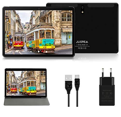 Tablet 10 Pulgadas Android 10.0 Tableta Ultra-Portátiles - RAM 4GB | 64GB Expandible (Certificación Google GMS) -JUSYEA - Batería de 8000mAh- WiFi - Cubierta - Negro