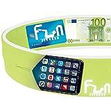 Cinturon Deportivo (Verde, S 65-71cm) - Cinturón para Correr – Riñonera Fitness Premium para Cintura – Ideal para Teléfonos Grandes como iPhone y Samsung Yoga y Ciclismo