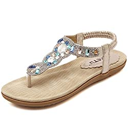 Gold Rhinestone Flat Sandals With Ankle Strap