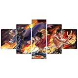Anime One Piece Poster Luffy Ace Sabo Three Brothers Print on Canvas Painting for Living Room Decor Wall Art (Unframed, Three Brothers 4)